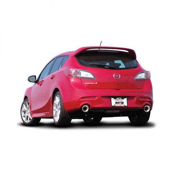 BORLA AXLE-BACK EXHAUST S-TYPE FOR 2010-2013 MAZDA 3/ MAZDASPEED 3 2.5L/ 2.3L 4 CYL .TURBO MANUAL TRANSMISSION FRONT WHEEL DRIVE 5 DOOR HATCHBACK.