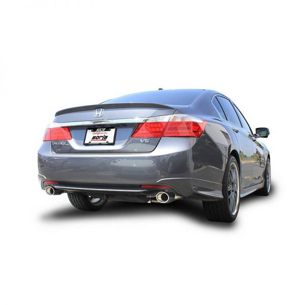 BORLA AXLE-BACK EXHAUST S-TYPE FOR 2013-2015 HONDA ACCORD 2.4L 4 CYL./ 3.5L V6 AUTOMATIC/ MANUAL TRANSMISSION FRONT WHEEL DRIVE 4 DOOR EQUIPPED WITH DUAL/ SPLIT REAR EXIT EXHAUST.