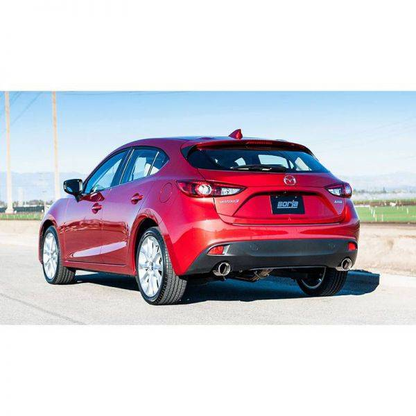 BORLA AXLE-BACK EXHAUST S-TYPE FOR 2014-2018 MAZDA 3 2.0L/ 2.5L 4 CYL. AUTOMATIC/ MANUAL TRANSMISSION FRONT WHEEL DRIVE 5 DOOR HATCHBACK.