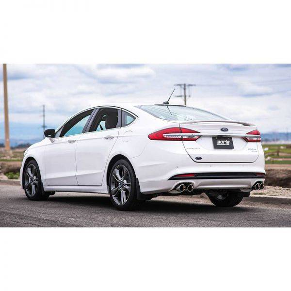 BORLA AXLE-BACK EXHAUST S-TYPE FOR 2017-2019 FORD FUSION SPORT 2.7L V6 TURBO AUTOMATIC TRANSMISSION ALL WHEEL DRIVE 4 DOOR.